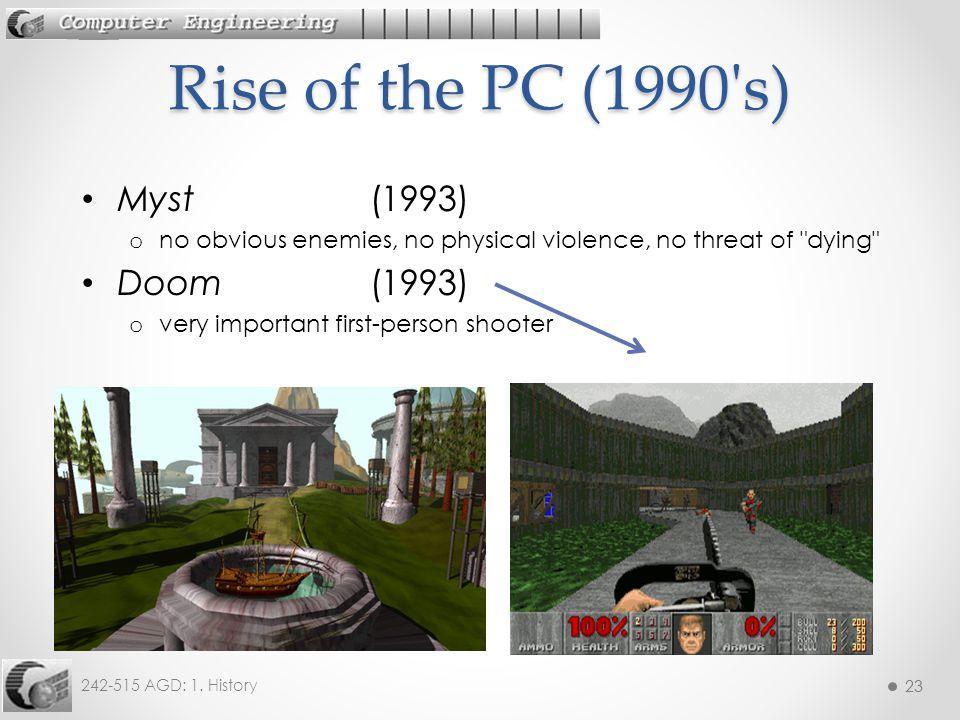 Rise of the PC (1990 s) Myst (1993) Doom (1993)