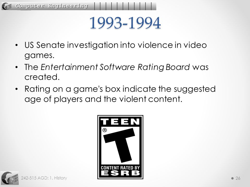 1993-1994 US Senate investigation into violence in video games.