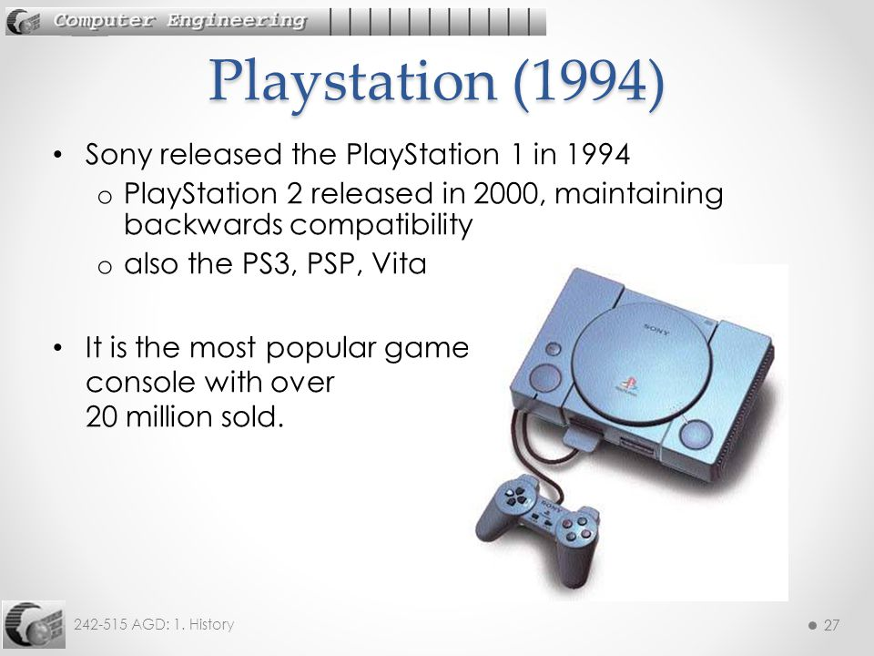 Playstation (1994) Sony released the PlayStation 1 in 1994