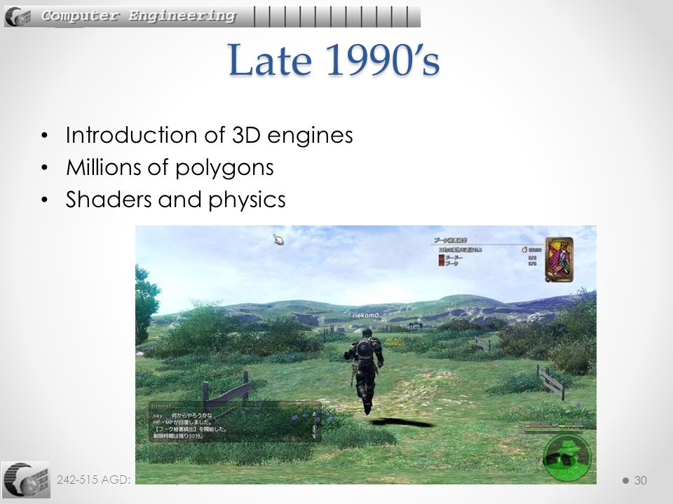 Late 1990's Introduction of 3D engines Millions of polygons