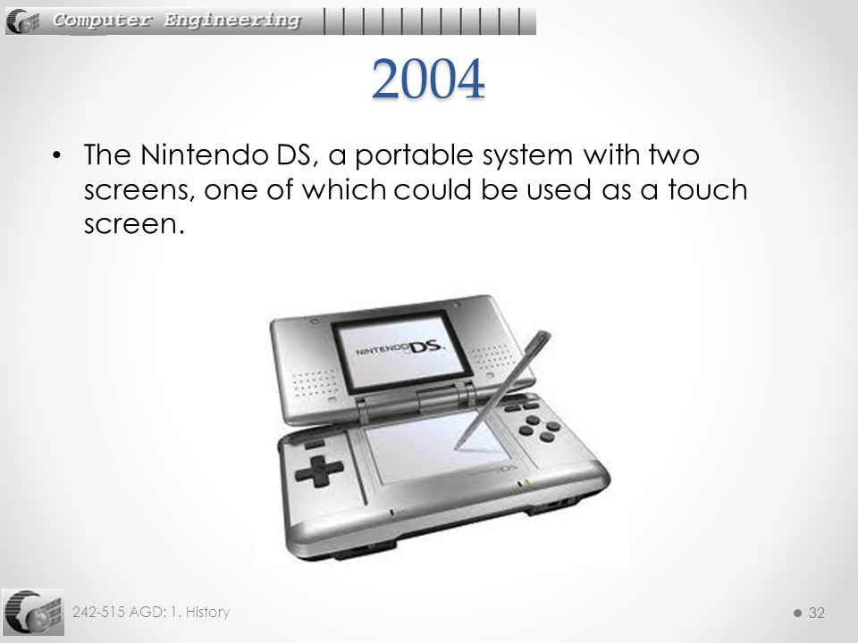 2004 The Nintendo DS, a portable system with two screens, one of which could be used as a touch screen.