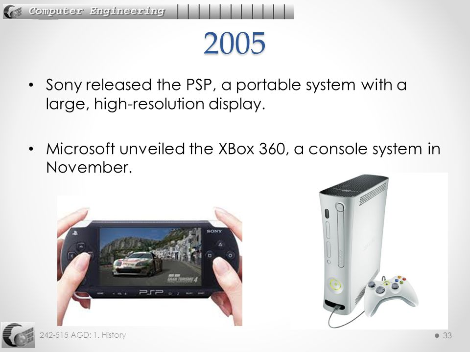 2005 Sony released the PSP, a portable system with a large, high-resolution display.