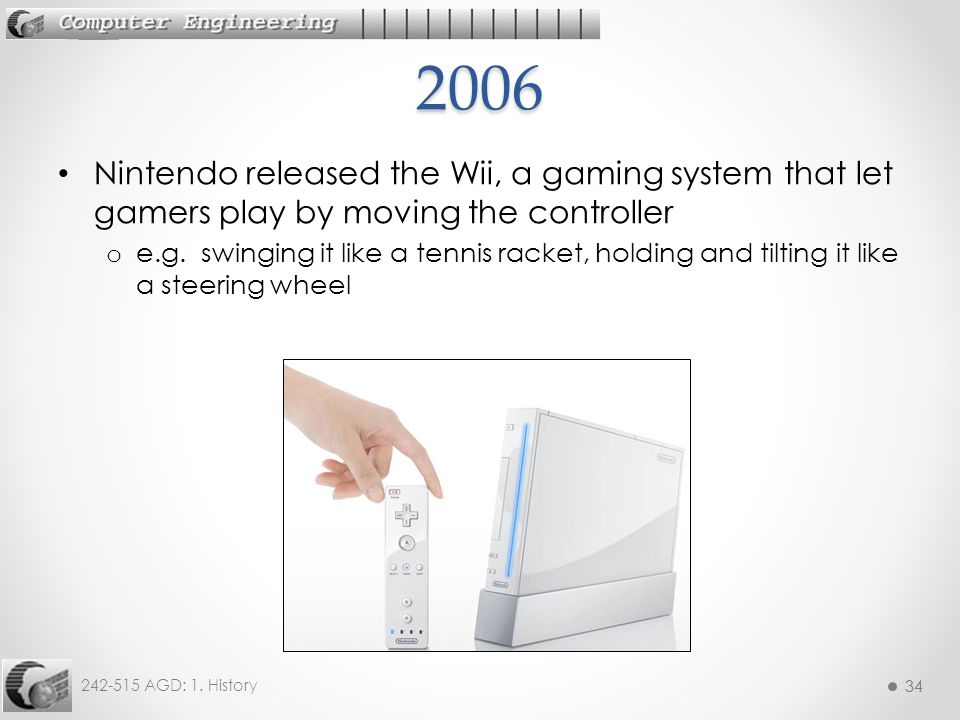 2006 Nintendo released the Wii, a gaming system that let gamers play by moving the controller.