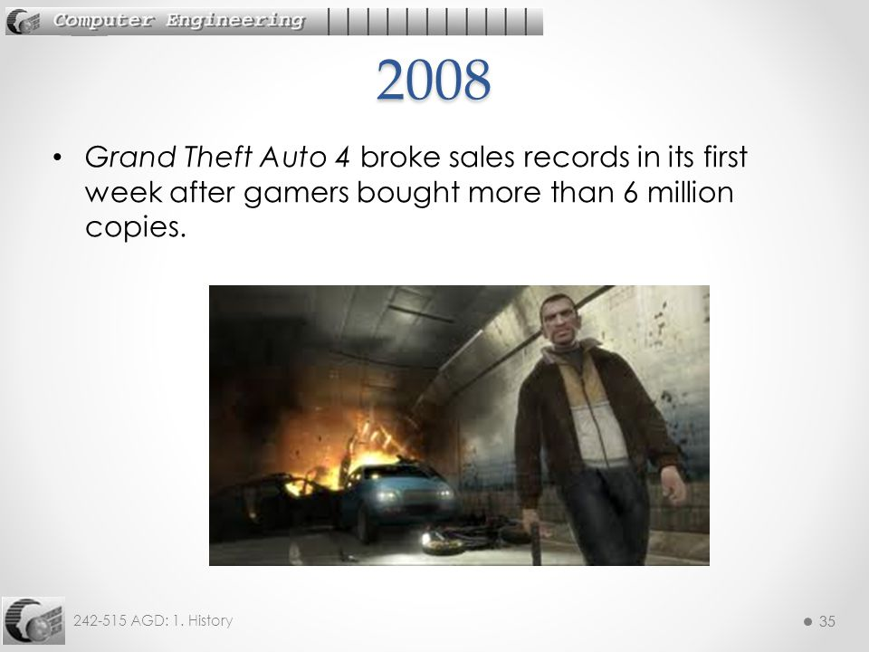2008 Grand Theft Auto 4 broke sales records in its first week after gamers bought more than 6 million copies.