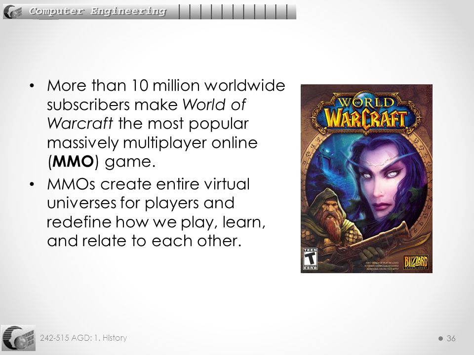 More than 10 million worldwide subscribers make World of Warcraft the most popular massively multiplayer online (MMO) game.