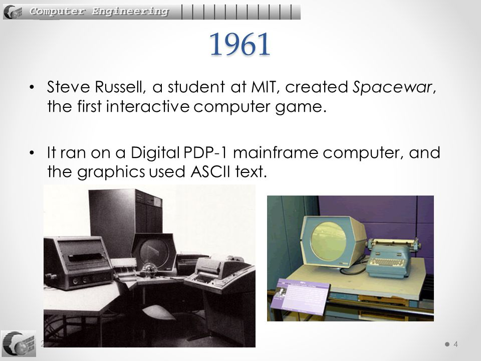 1961 Steve Russell, a student at MIT, created Spacewar, the first interactive computer game.