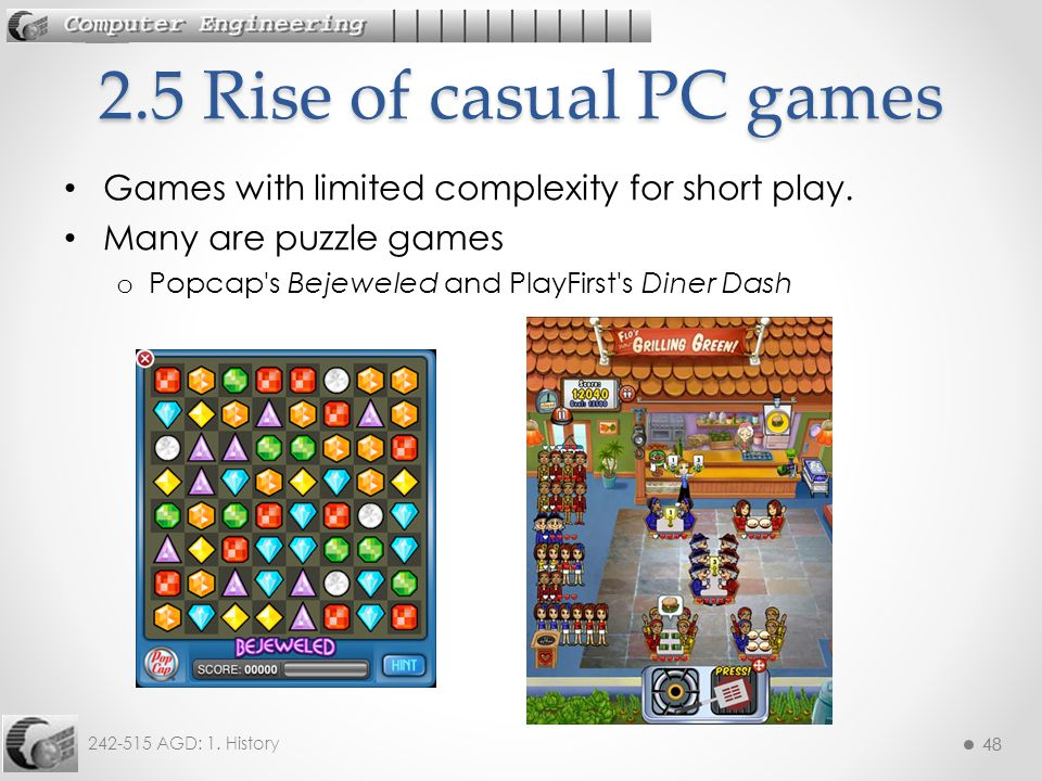 2.5 Rise of casual PC games Games with limited complexity for short play.