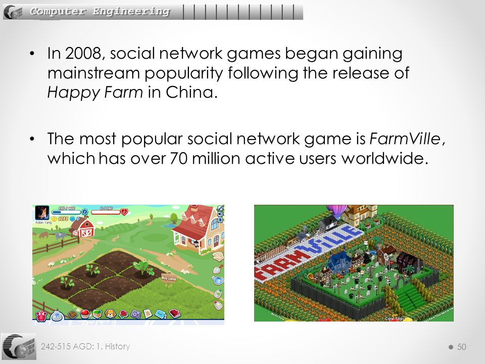 In 2008, social network games began gaining mainstream popularity following the release of Happy Farm in China.