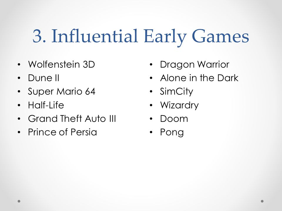 3. Influential Early Games