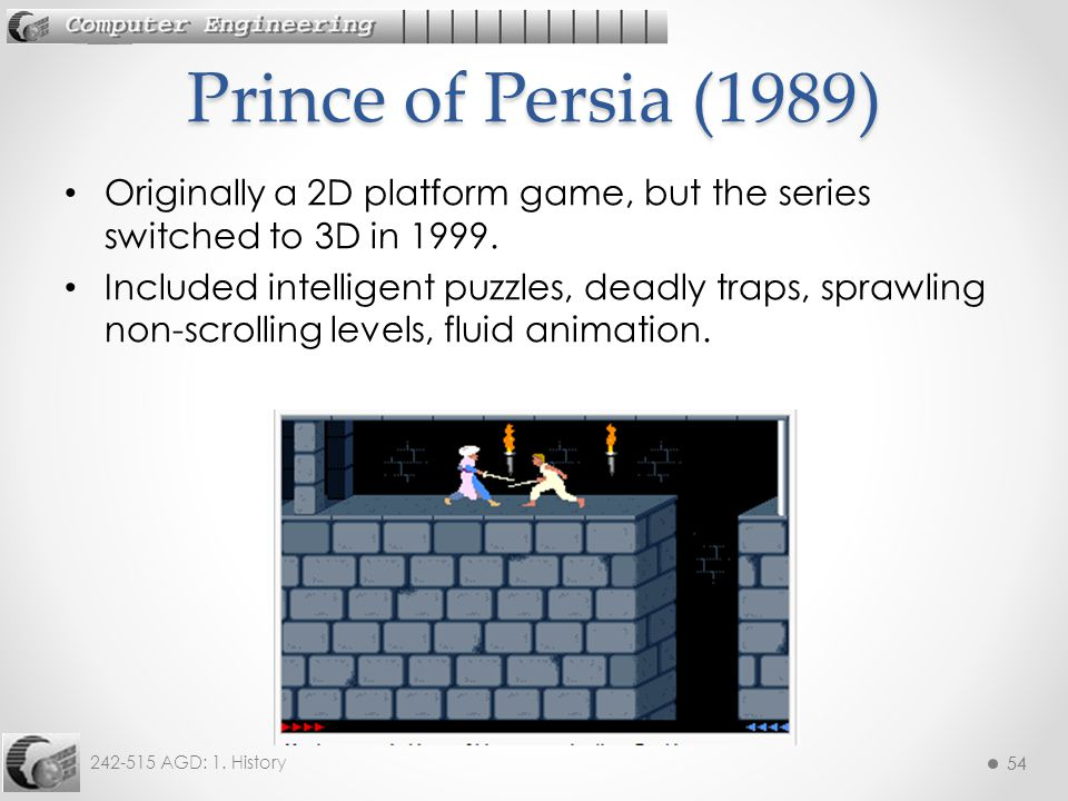 Prince of Persia (1989) Originally a 2D platform game, but the series switched to 3D in 1999.