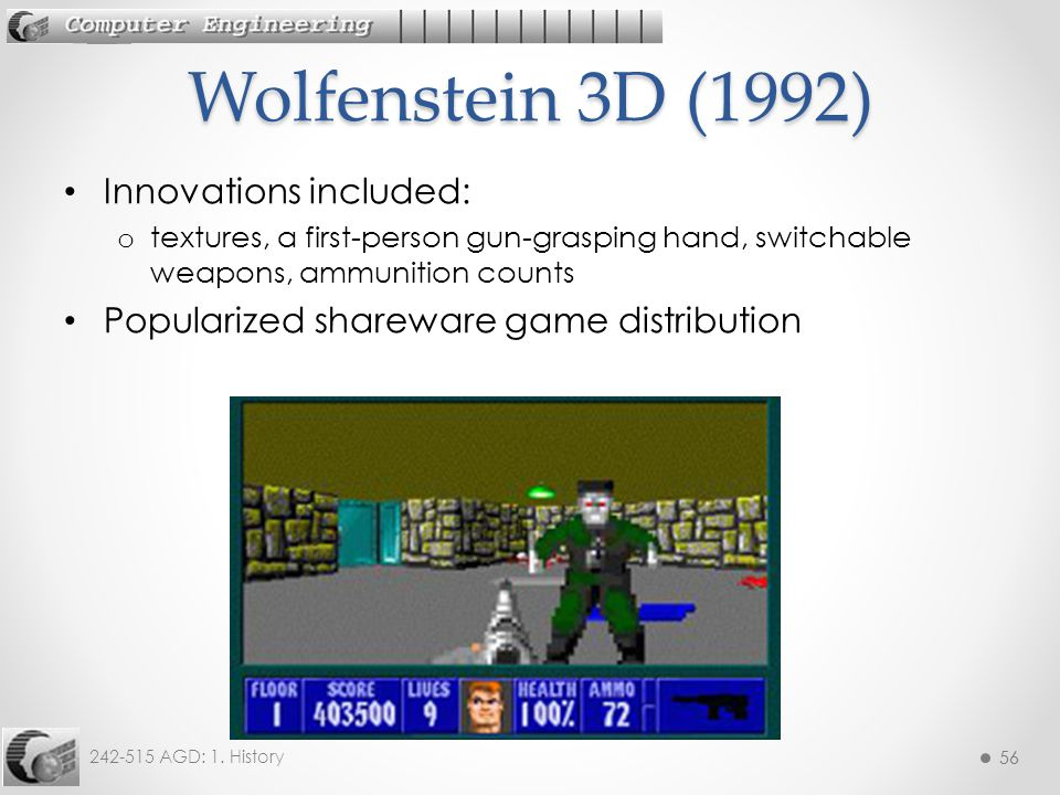 Wolfenstein 3D (1992) Innovations included:
