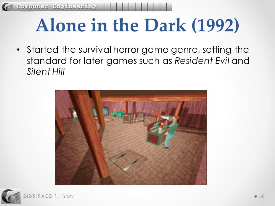 Alone in the Dark (1992) Started the survival horror game genre, setting the standard for later games such as Resident Evil and Silent Hill.