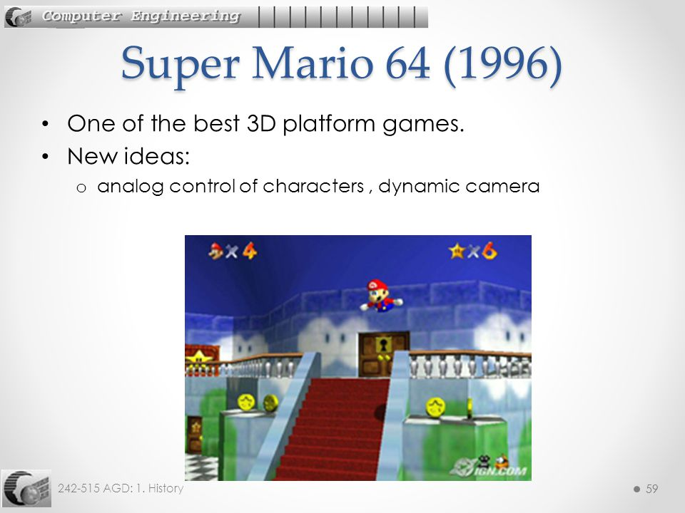 Super Mario 64 (1996) One of the best 3D platform games. New ideas: