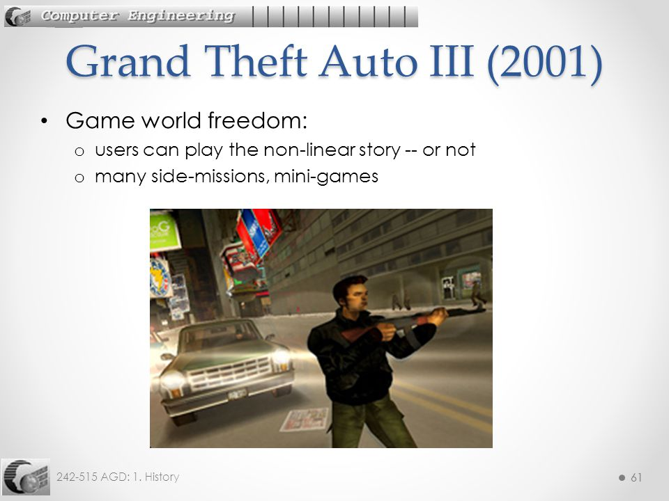 Grand Theft Auto III (2001) Game world freedom: