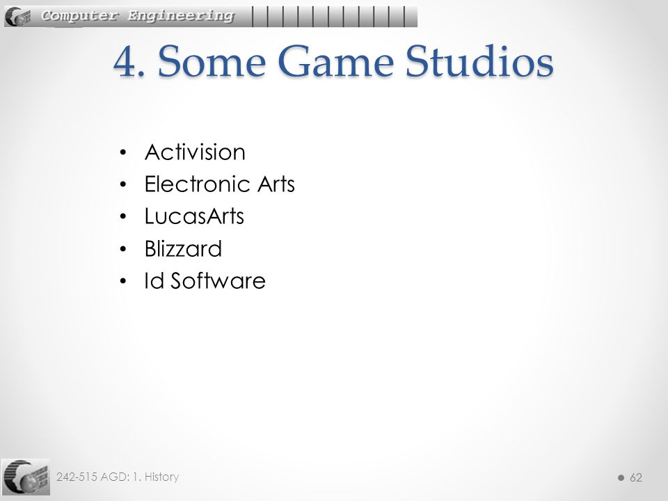 4. Some Game Studios Activision Electronic Arts LucasArts Blizzard