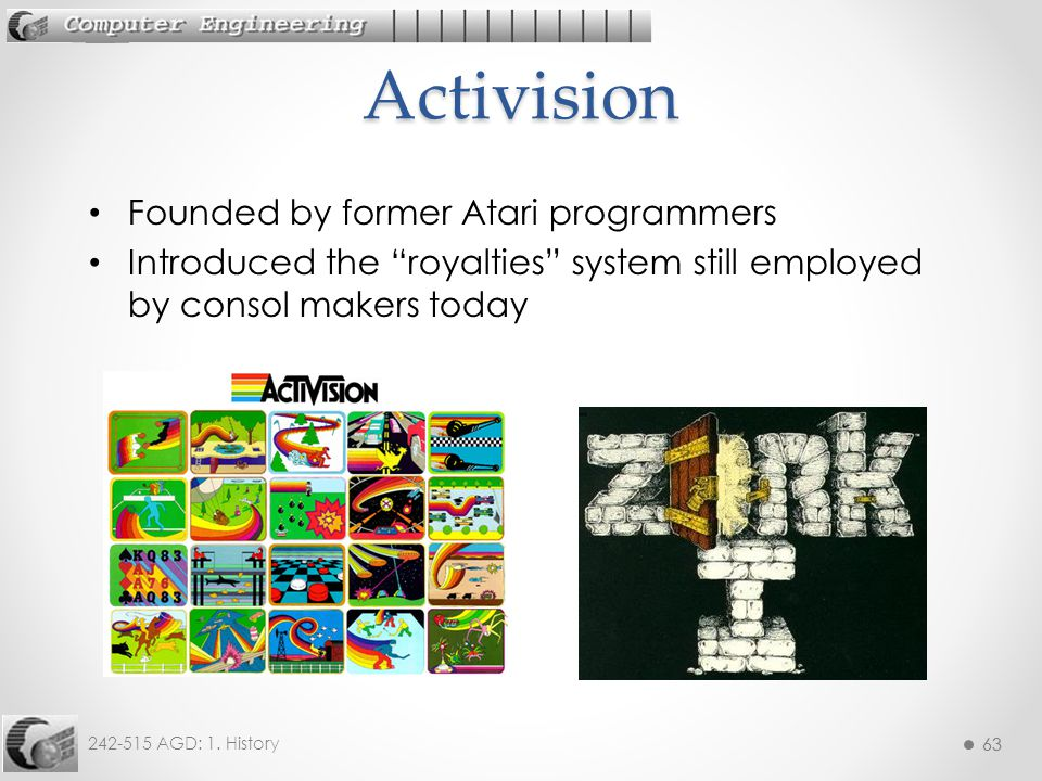 Activision Founded by former Atari programmers
