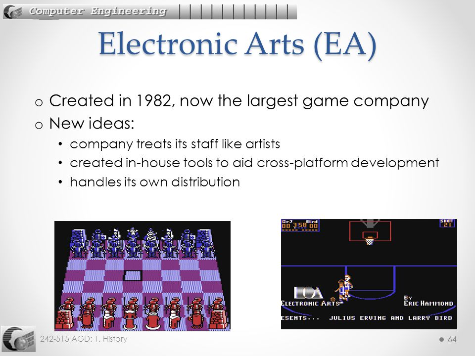 Electronic Arts (EA) Created in 1982, now the largest game company