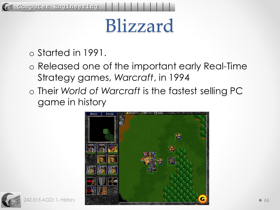 Blizzard Started in 1991. Released one of the important early Real-Time Strategy games, Warcraft, in 1994.