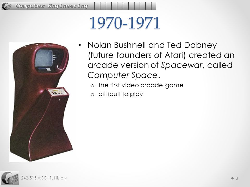 1970-1971 Nolan Bushnell and Ted Dabney (future founders of Atari) created an arcade version of Spacewar, called Computer Space.