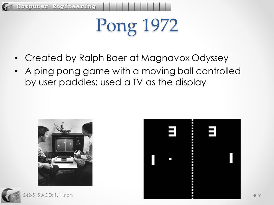 Pong 1972 Created by Ralph Baer at Magnavox Odyssey