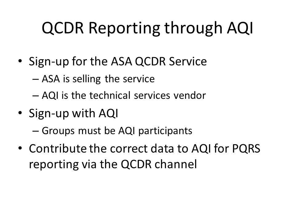 QCDR Reporting through AQI