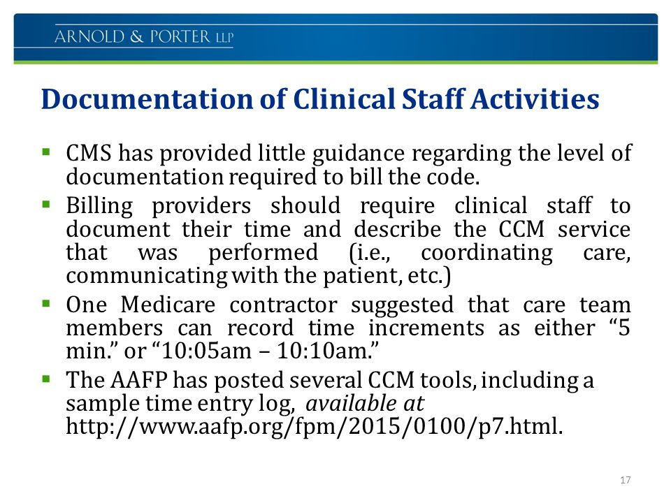Documentation of Clinical Staff Activities
