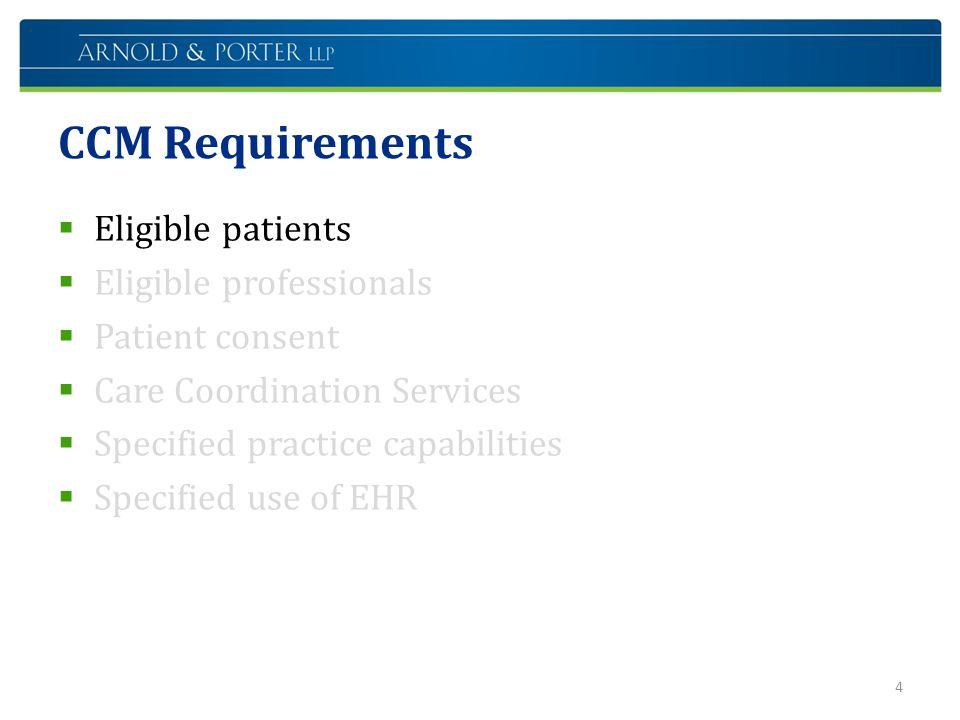 CCM Requirements Eligible patients Eligible professionals