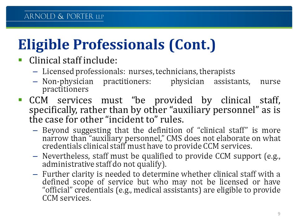 Eligible Professionals (Cont.)