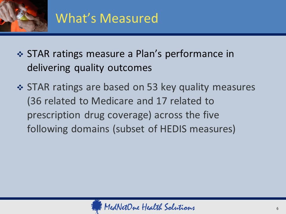 What's Measured STAR ratings measure a Plan's performance in delivering quality outcomes.