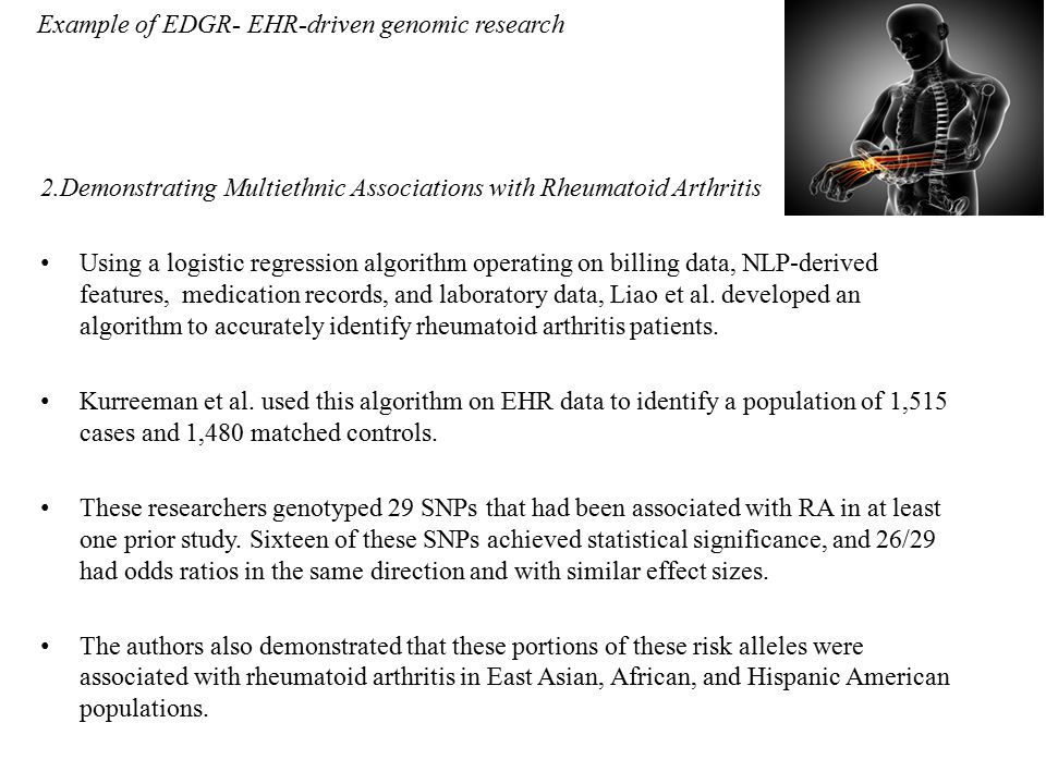Example of EDGR- EHR-driven genomic research