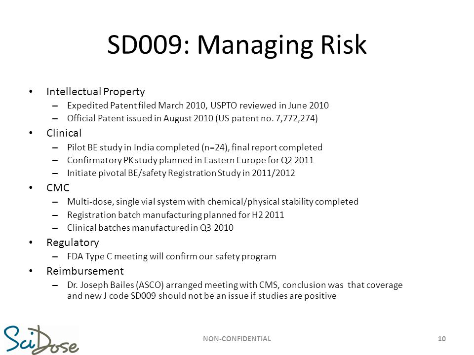 SD009: Managing Risk Intellectual Property Clinical CMC Regulatory