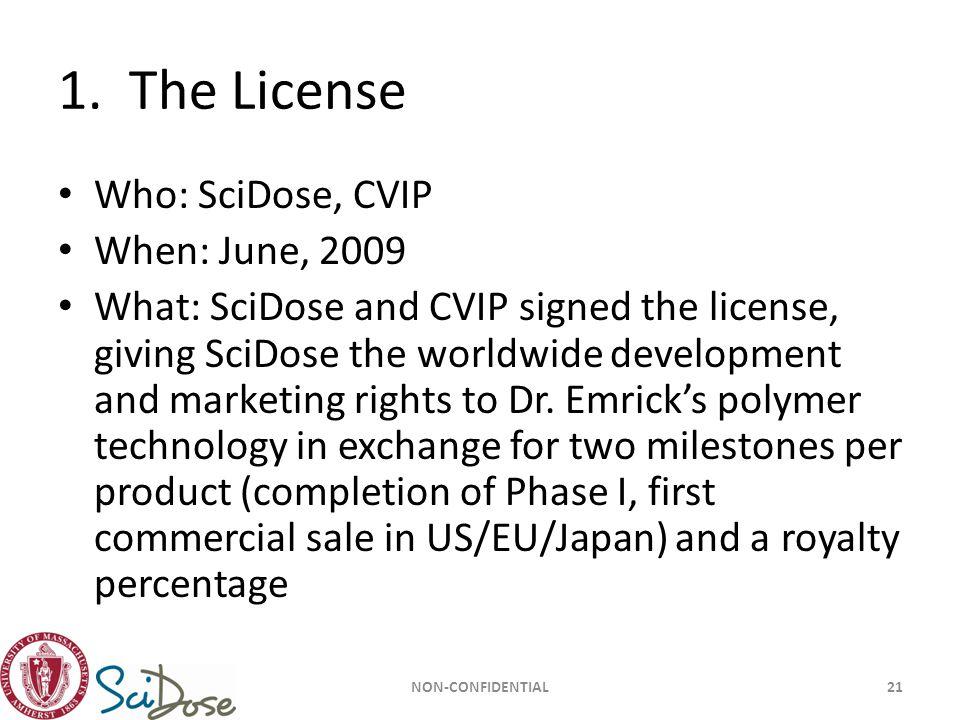 1. The License Who: SciDose, CVIP When: June, 2009
