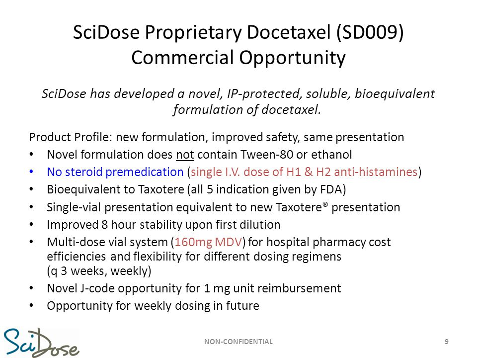SciDose Proprietary Docetaxel (SD009) Commercial Opportunity