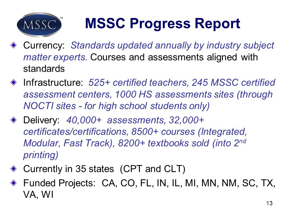 MSSC Progress Report Currency: Standards updated annually by industry subject matter experts. Courses and assessments aligned with standards.