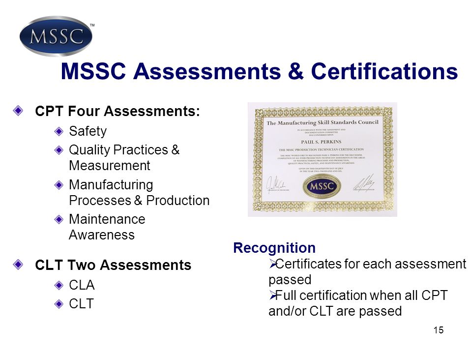 MSSC Assessments & Certifications
