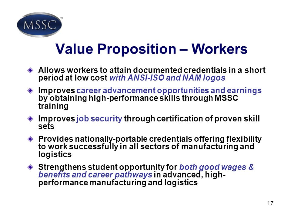 Value Proposition – Workers