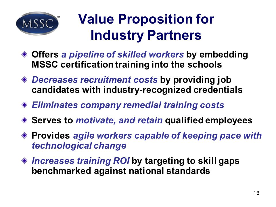 Value Proposition for Industry Partners