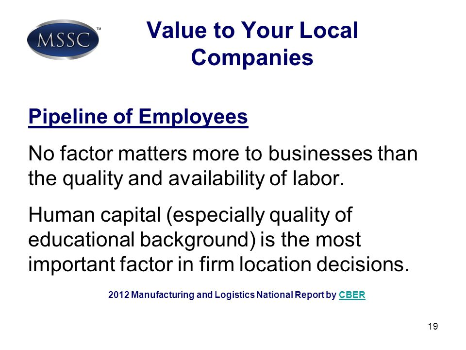 Value to Your Local Companies
