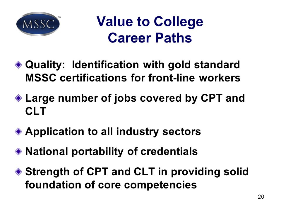 Value to College Career Paths