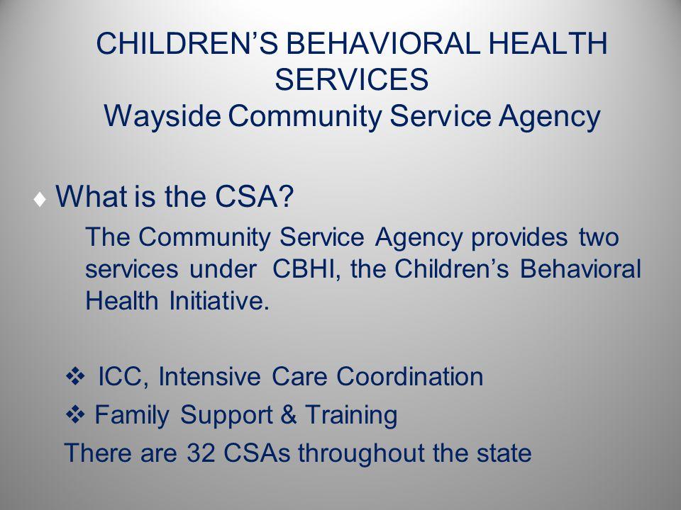 CHILDREN'S BEHAVIORAL HEALTH SERVICES Wayside Community Service Agency