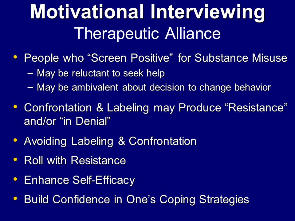 Motivational Interviewing Therapeutic Alliance