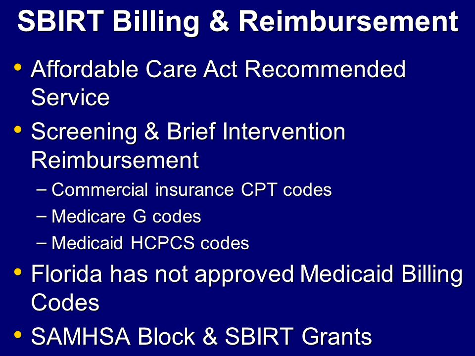 SBIRT Billing & Reimbursement