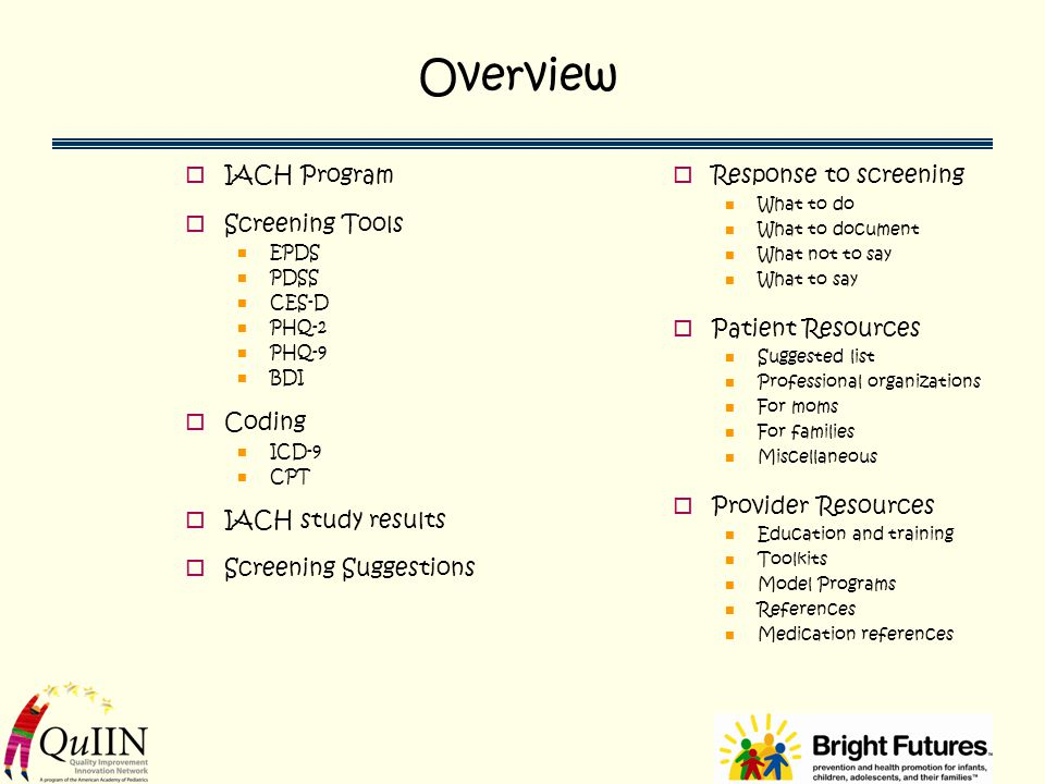 Overview IACH Program Screening Tools Coding IACH study results