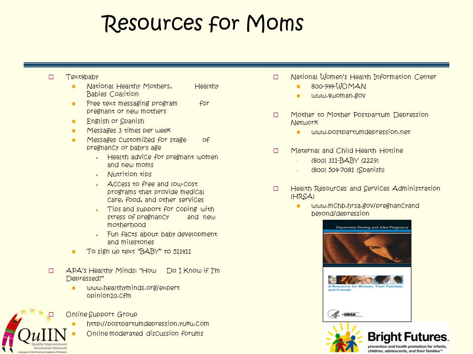 Resources for Moms Text4baby