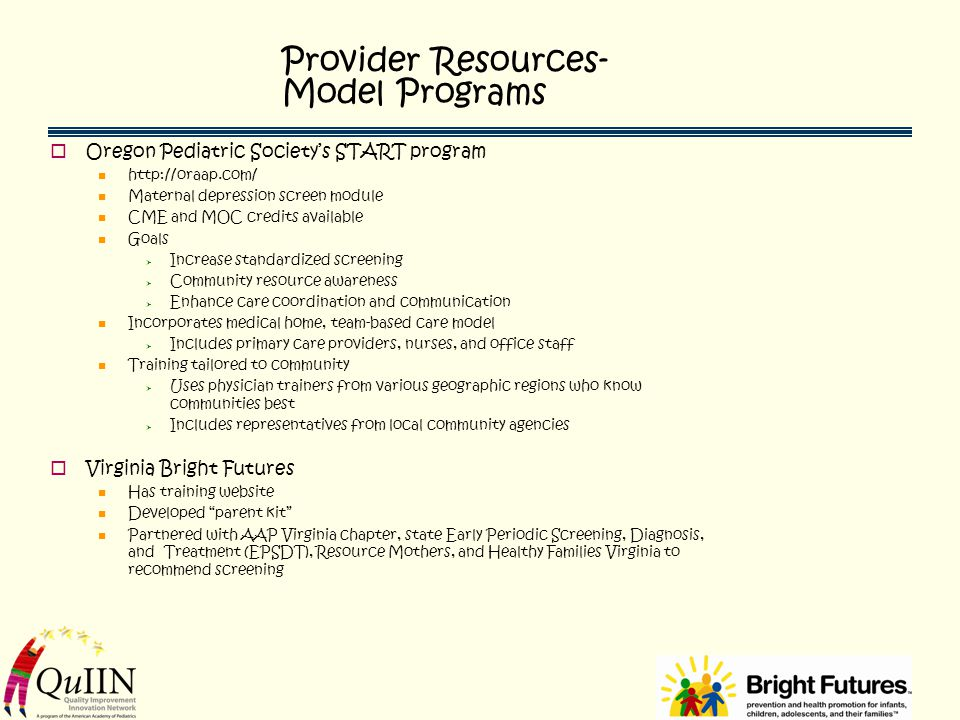 Provider Resources- Model Programs