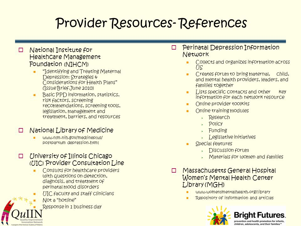 Provider Resources- References