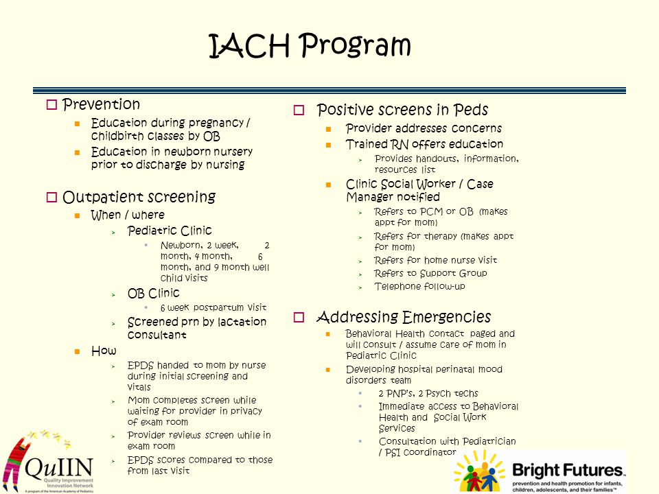 IACH Program Prevention Positive screens in Peds Outpatient screening