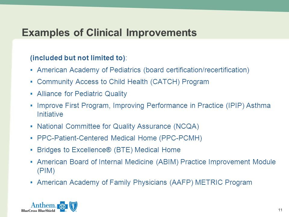 Examples of Clinical Improvements