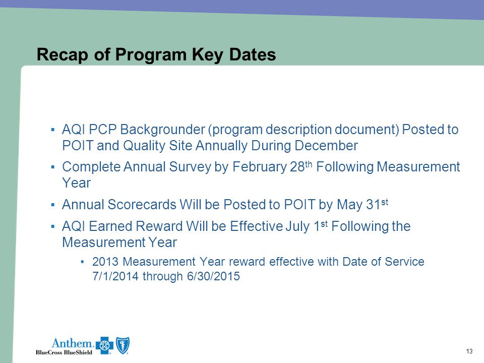 Recap of Program Key Dates