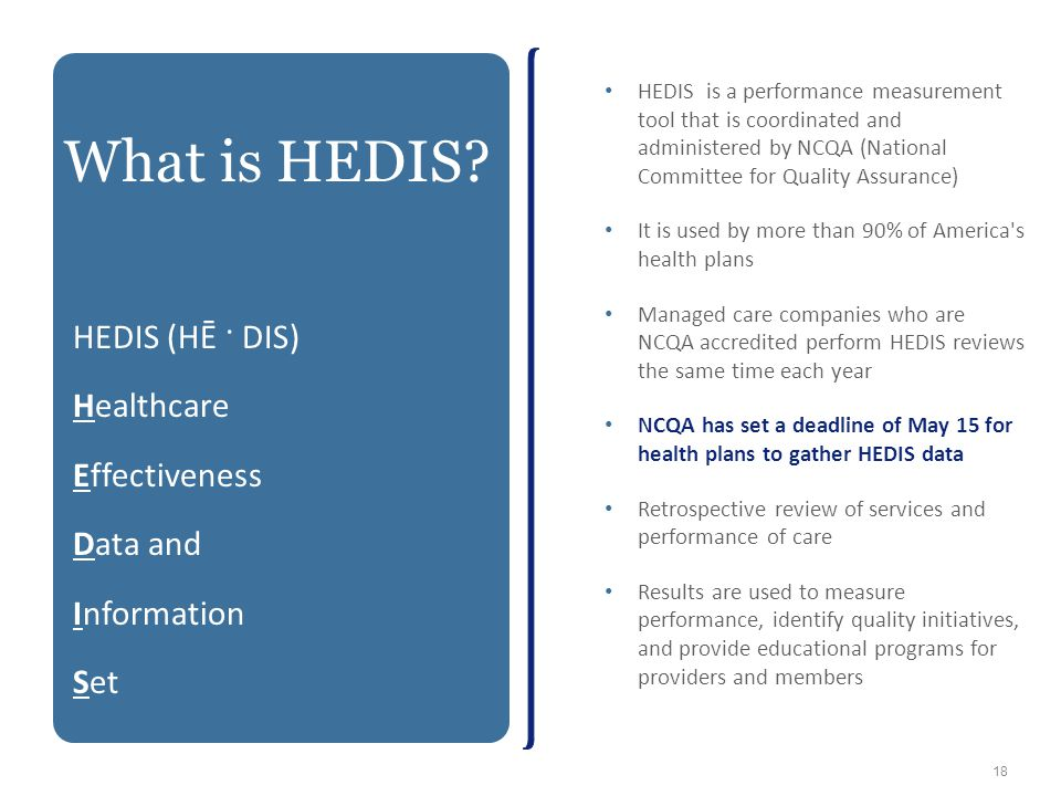 What is HEDIS HEDIS (HĒ · DIS) Healthcare Effectiveness Data and
